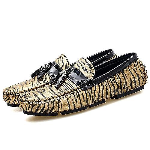 Zapatos Planos de los Hombres Zapatos Casuales Zapatos de holgazanear de la Moda del Estampado Leopardo Mocasines Zapatos de Barco Oro Plata Tamaño Grande ...