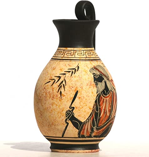 greekartshop Greek Black-Figure Ceramic Vase Pot Pottery Painting King God Zeus 6.3 inches
