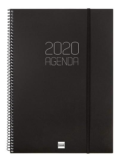 Finocam - Agenda 2020 semana vista apaisada Espiral Opaque Negro español