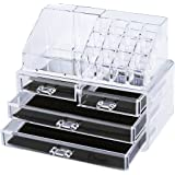 Ovonni SF-1155 Acrylic Makeup Organizer Jewelry & Cosmetic Storage Display Boxes,2 Pieces Set, Clear