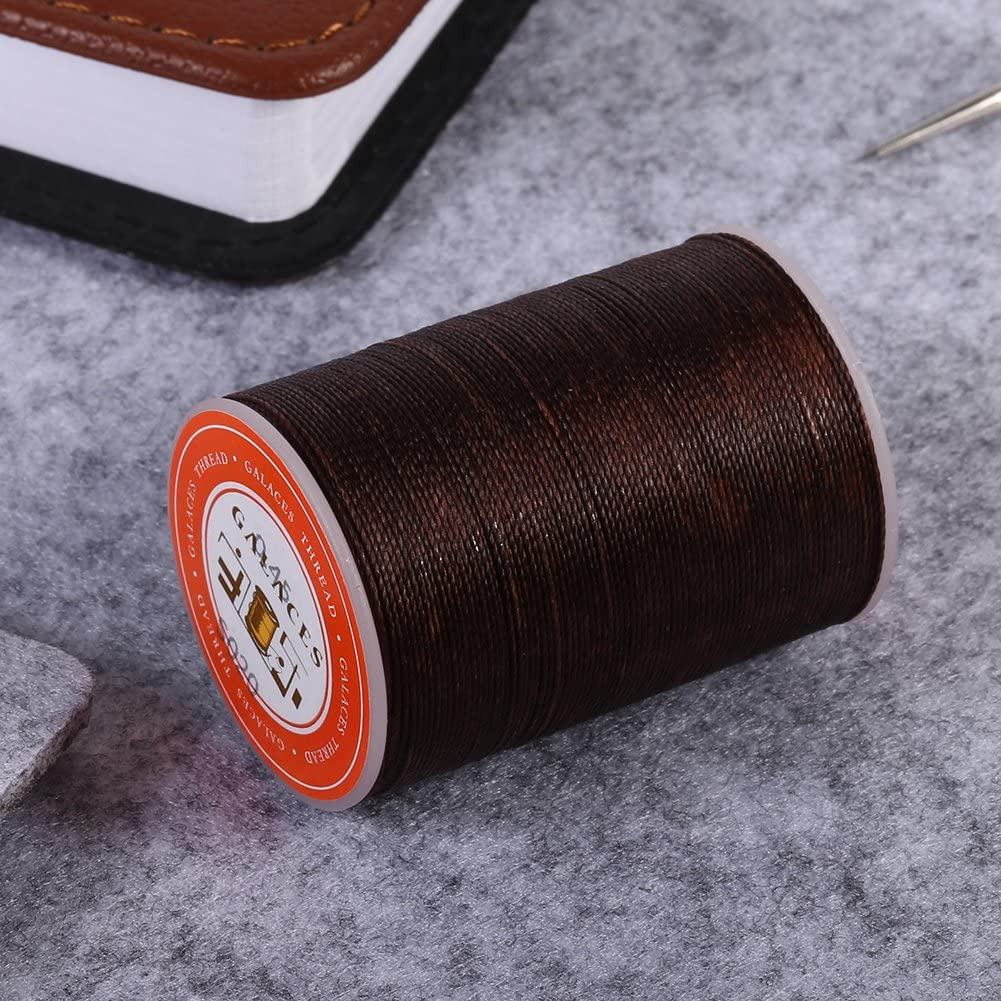 1 Roll 160 Meters Waxed Thread Cord Leather Sewing Cord for Leather Hand Sewing Stitching Handcrafts 0.45mm in Diameter S020Brown