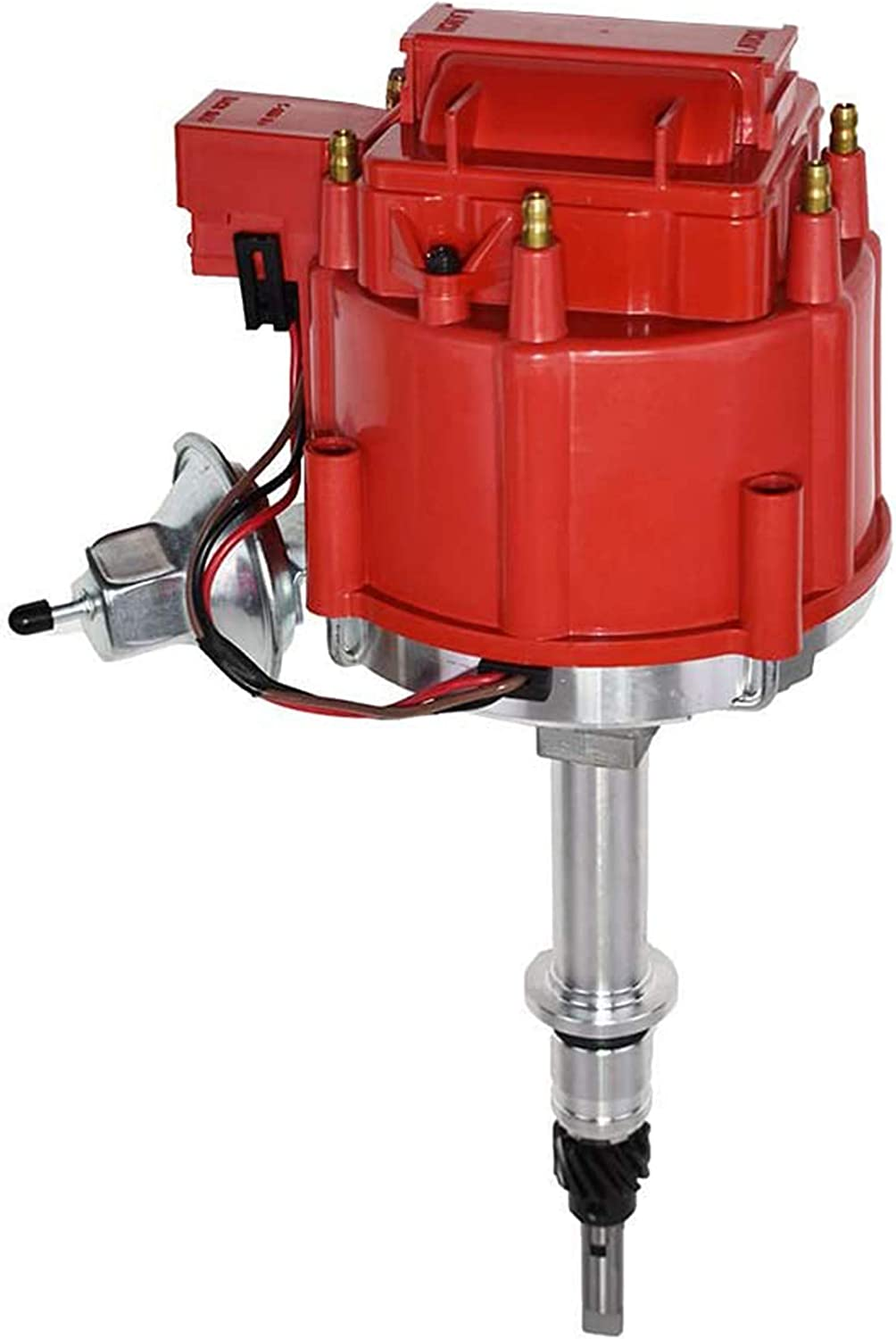 A-Team Performance Complete HEI Distributor 65K Coil 7500 RPM Compatible with Chevrolet Chevy GM GMC Truck Late Model Inline 6 Cylinder 230 250 292 One Wire Installation Red Cap