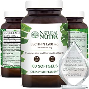 Natural Nutra Soy Lecithin Dietary Supplement from Soybean Oil, Non GMO, High Potency, 1200 mg, 100 Softgels