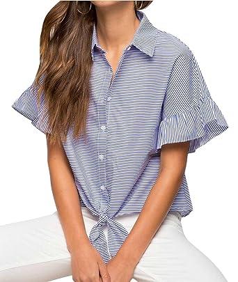 99a47439 ARTFFEL Womens Short Sleeve Ruffle Stripe Loose Button Down Shirt Top  Blouse Blue S