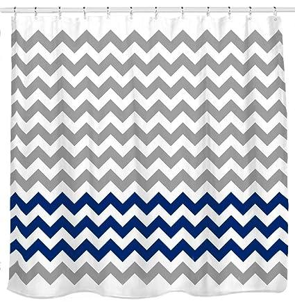 Sunlit Zigzag Navy Blue And Grey White Chevron Fabric Shower Curtain Geometric Zig Zag Print
