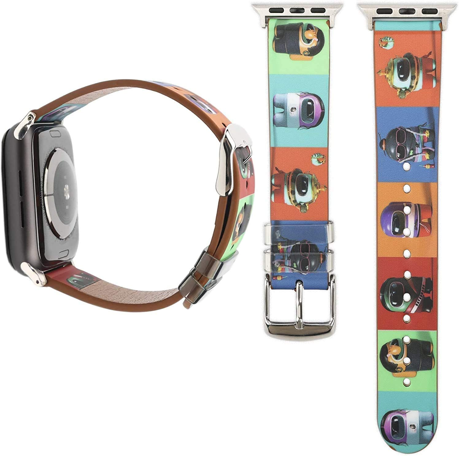YSNUO Multicolour Women Men Baby Yoda Watch Band Compatible with Apple iWatch Band 38mm 40mm, Genuine Leather Replacement Strap, for iWatch 6 SE Series 5 4 3 2 1, Cute Strap + Silver Adapter