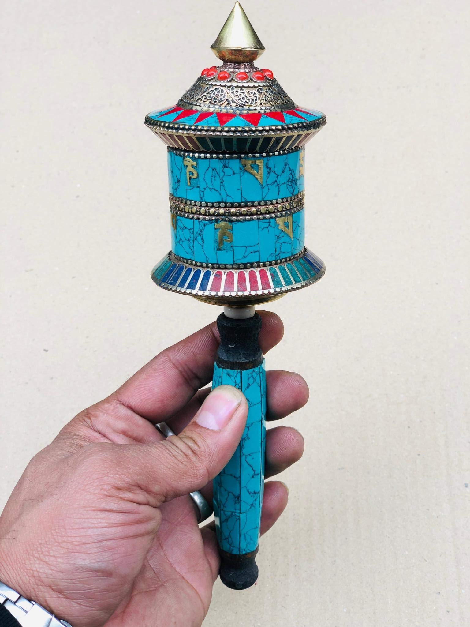 Buddhist Brass & Stone Set Hand-held Prayer Wheel - 9 Inch with Authentic Wooden Handle