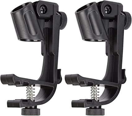 2pcs Drum Microphone Clips Mount Tool Kit Clamp Holder Snare Groove Gear