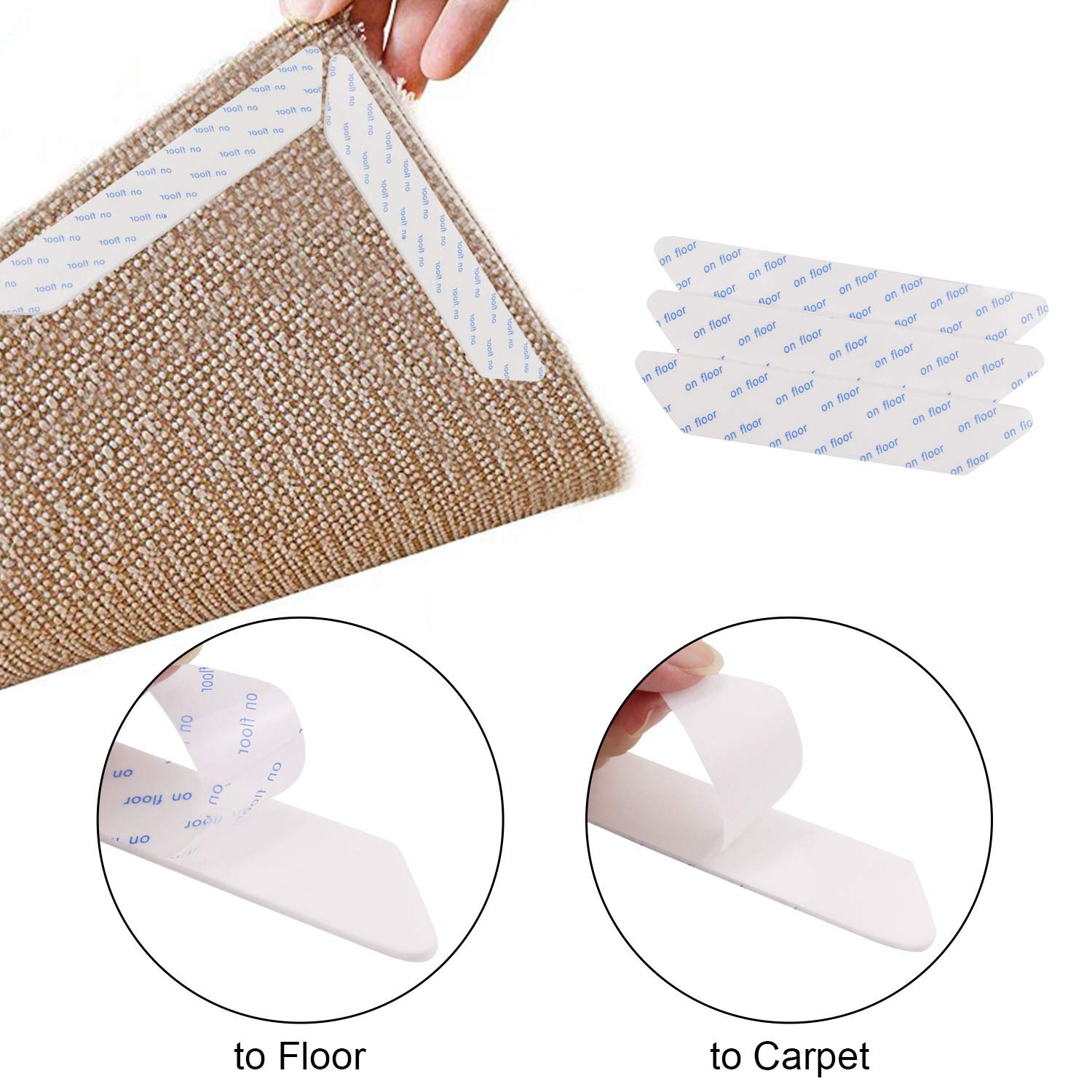 ACMEDE Rug Gripper Non Slip Anti Curling Rug Stoppers Keeps Rug Corner Flat Carpet Anchors for Indoor Reusable Carpet Gripper 8 PCS 7.08 x 1.18 x 0.07 inch