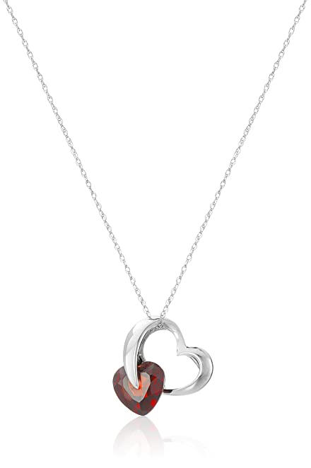 Amazon 10k white gold garnet heart pendant necklace 18 jewelry 10k white gold garnet heart pendant necklace 18quot mozeypictures Images