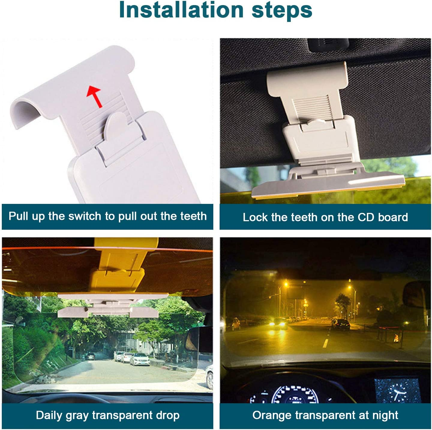 Adjustable HD Anti-Glare Dazzling Goggle Day Night Mirror Vision For Day//Night for Driving 2 in 1 Universal Day and Night Anti-Glare Car Sun Visor BESWORLDS Car Sun Visor
