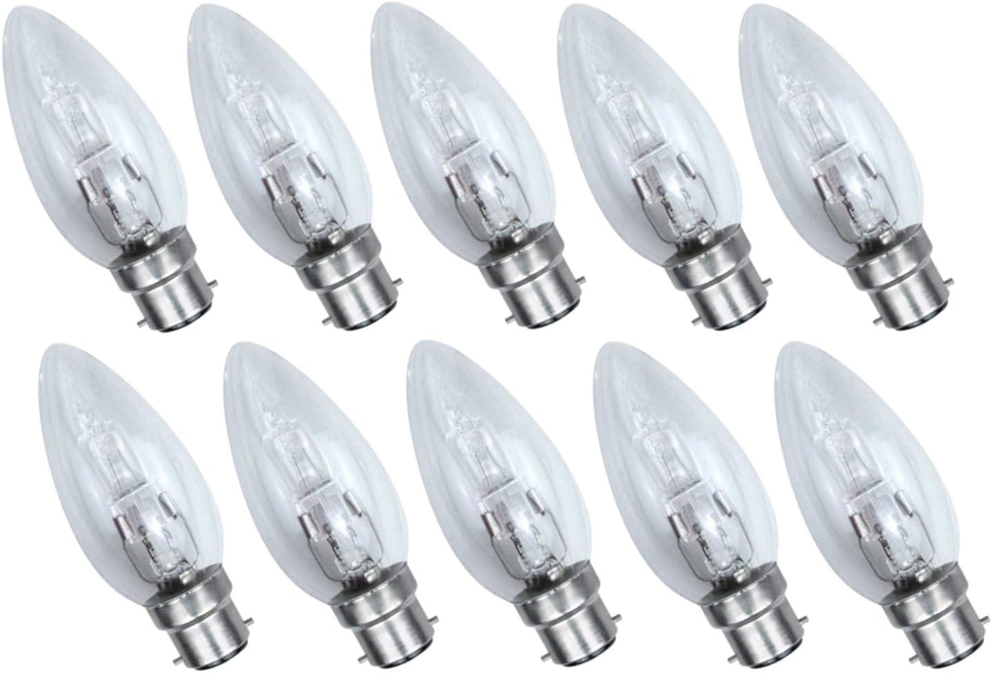 Luminizer 3120 Lot de 10 bougies halog/ènes B22 C35 42 W /à intensit/é variable Blanc chaud 55 W