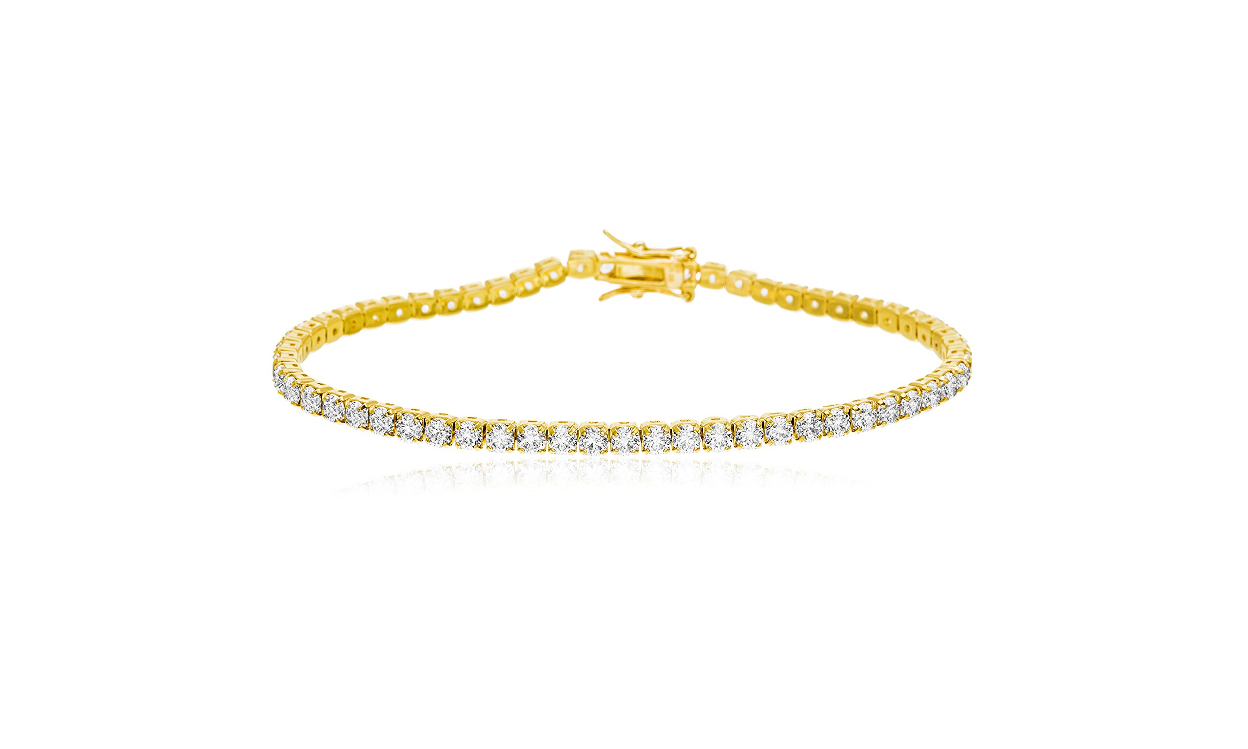 Devin Rose Womens 7.25'' Tennis Bracelet Made With Swarovski Crystals in Yellow Gold Plated Sterling Silver (Yellow)