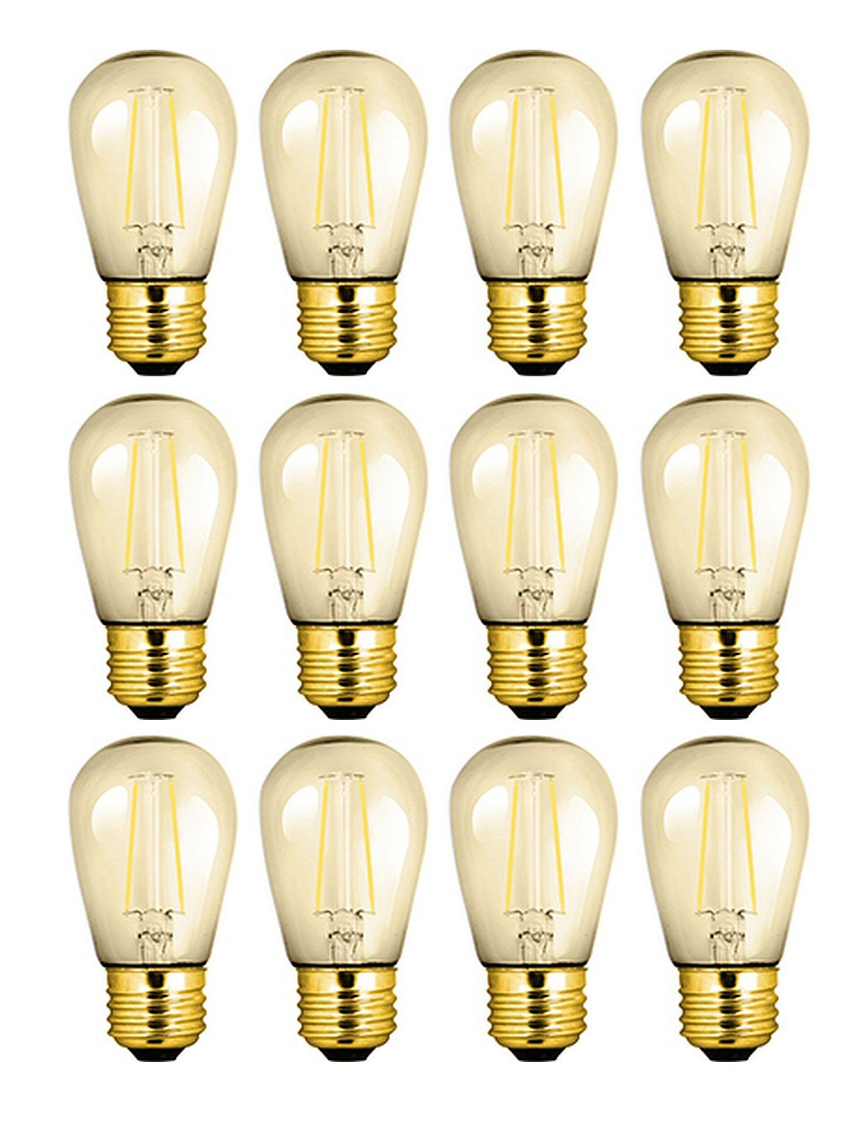 12 Qty. Halco S14AMB2ANT/822/LED 81140 S14 2W 2200K AMBER NON-DIMMABLE FILAMENT E26 ProLED