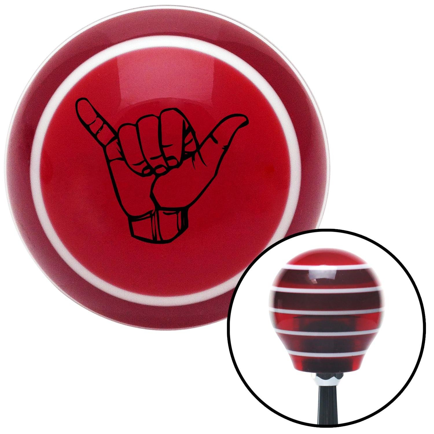 Black Hang Loose w//Detailed Hand American Shifter 113455 Red Stripe Shift Knob with M16 x 1.5 Insert