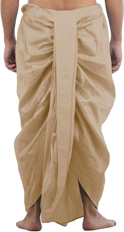 Maenner-Dhoti-Dupion-Silk-Plain-handgefertigt-fuer-Pooja-Casual-Hochzeit-Wear Indexbild 49