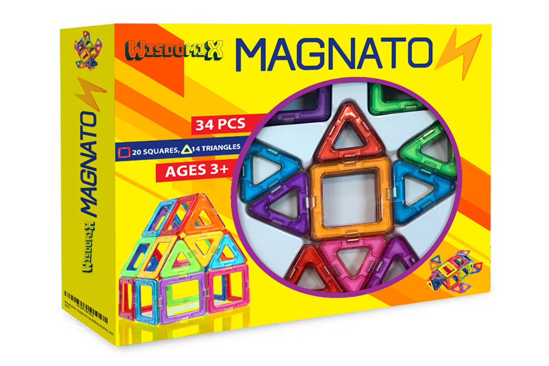 MAGNATON Magnetic Blocks | Magnetic Building Blocks 34PCS Set | Colorful 3D Magnetic Tiles for Children | Best Educational Learning Preschool Creativity Kit STEM Toys for Toddlers Kids Girls and Boys by WISDOMIX