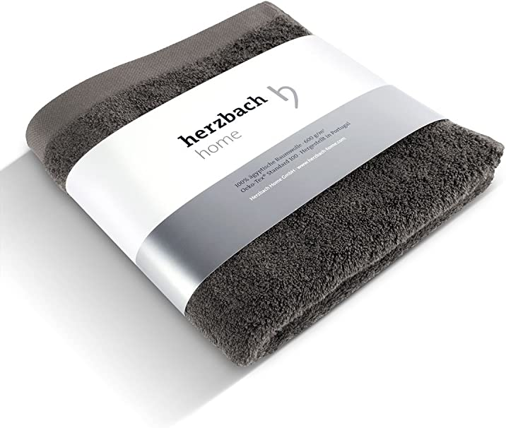 herzbach home - Toalla de mano (100% algodón egipcio, 50 x 100 cm, 600 g/m², extrasuave), algodón, gris oscuro, 50 x 100 cm (Standard Größe): Amazon.es: Hogar