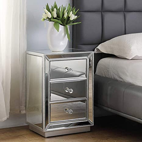 Modern 3-Drawer Mirrored End Table, GA Home Nightstand Mirror Accent Table  Bedroom Mini Cabinet, Silver