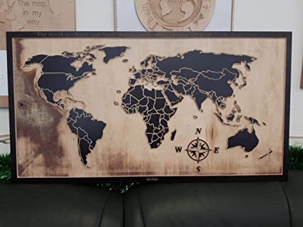 Amazon.com: Wooden World Map - Wall Decor - Gift for ...