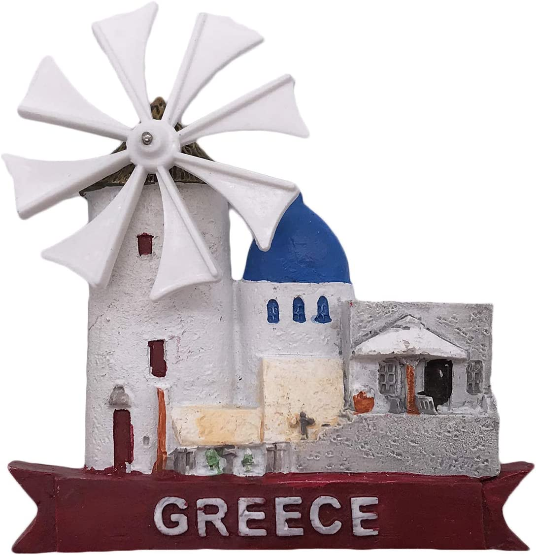 Santorini Greece 3D Windmill Refrigerator Magnet Tourist Souvenirs Resin Magnetic Stickers Fridge Magnet Home & Kitchen Decoration from China