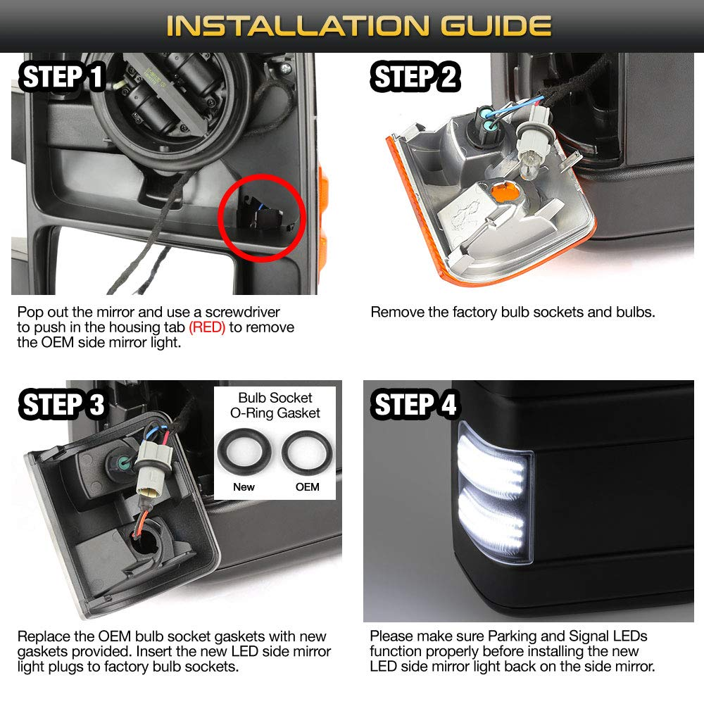 VIPMOTOZ Full Hexa-LED Switchback Black Smoke Mirror Side Marker Light Lamp Assembly Replacement For 2008-2016 Ford F-250 F-350 F-450 Super Duty Pickup Truck Sequential Turn Signal