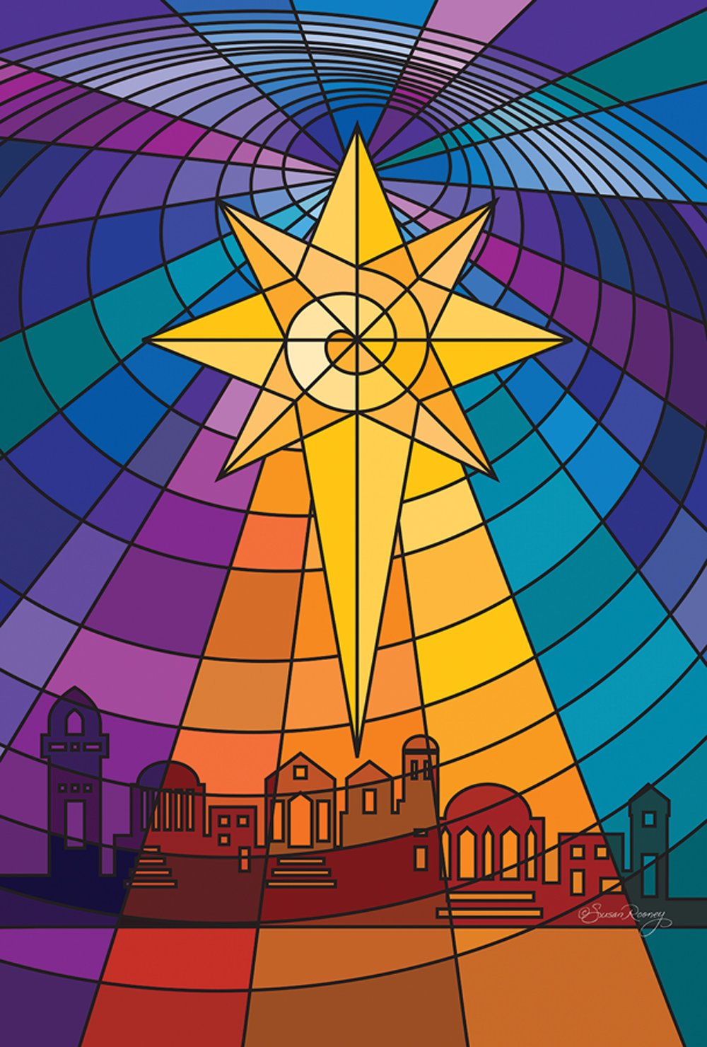 Toland Home Garden Star Of Bethlehem 12.5 x 18 Inch Decorative Stained Glass Christmas Garden Flag