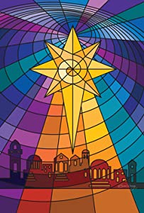 Toland Home Garden Star Of Bethlehem 28 x 40 Inch Decorative Stained Glass Christmas House Flag