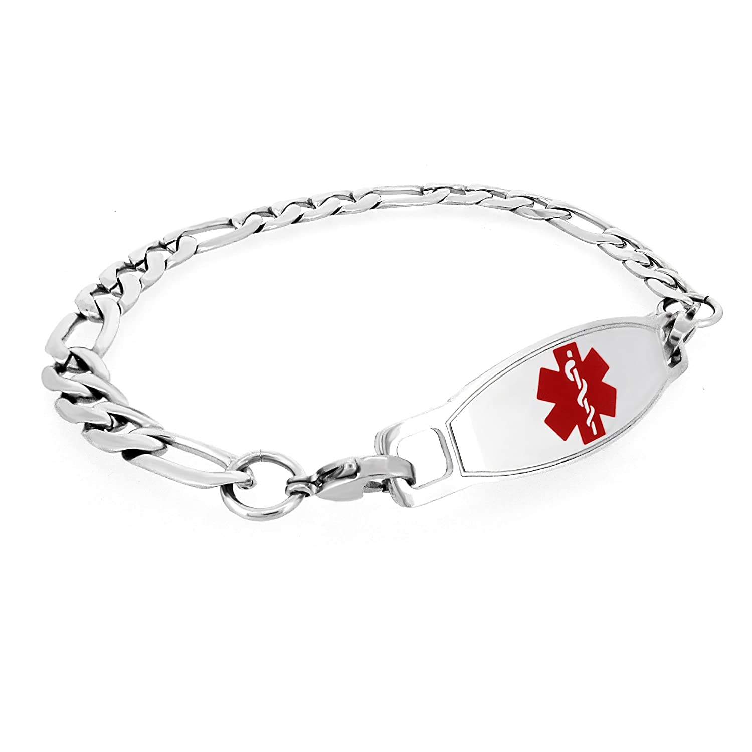 MedicEngraved Mens Womens Stainless Steel Medical ID Bracelet with Red Enamel Medical Tag - Sizes 8, 8.5, 9 (FS-RED2) Leviev Ltd. MBR-FS-RED2-7
