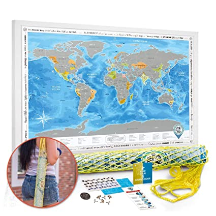 Amazon Com Scratch Off World Map Poster Silver Large Detailed
