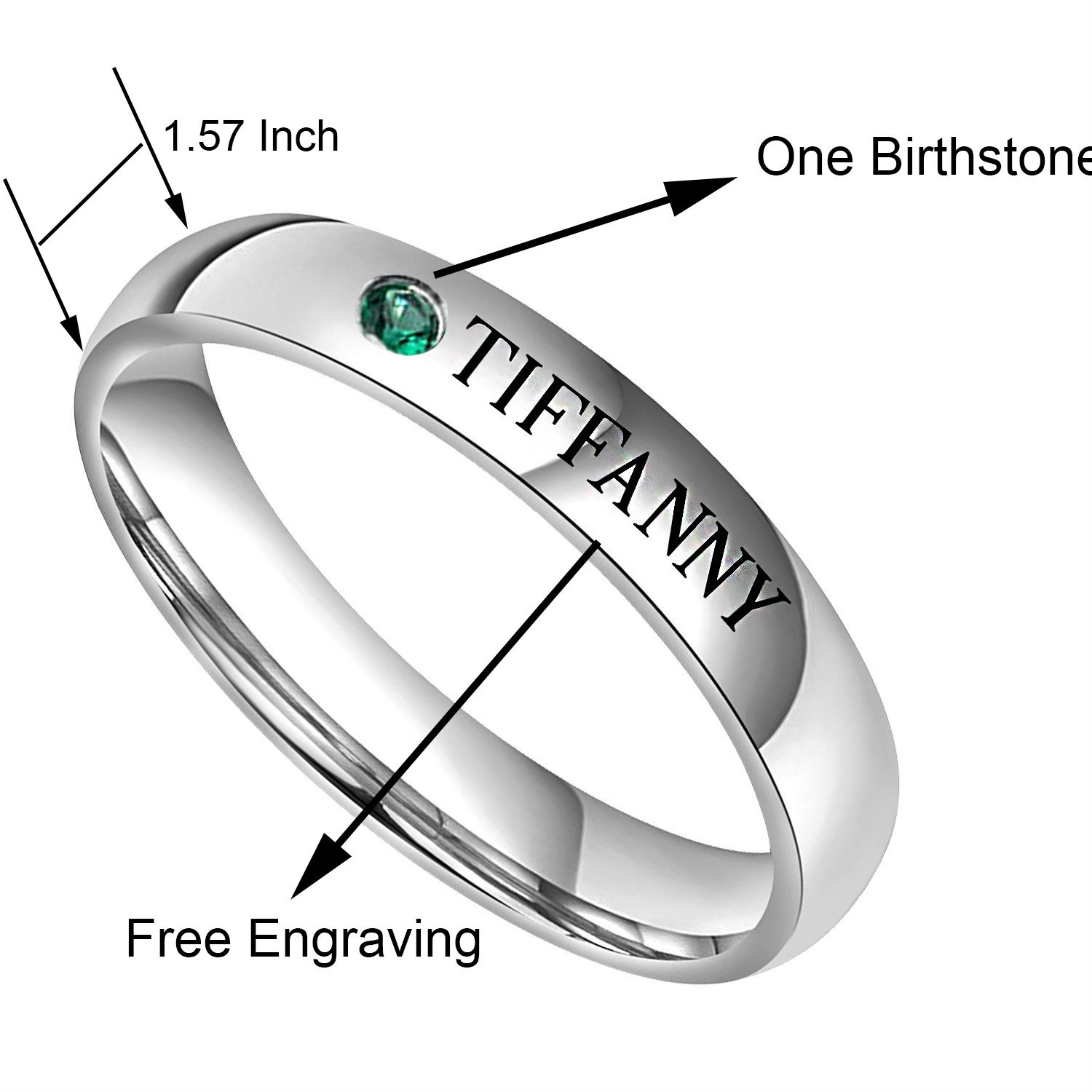 Personalized Rings Birthstone Rings Stacking Rings Name Ring Band Name Rings Stainless Steel 4MM Width Babe King Jewelry