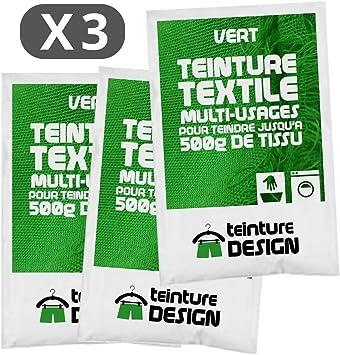 Juego de 3 bolsas de tinte textil para ropa y telas naturales, color verde