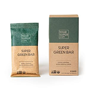 Your Super - Super Green Superfood Bars - Organic Plant Based Snack - Full Serving of Veggies, Post-Workout Fuel, Quick Nutritious Breakfast - Gluten Free, Soy Free, No Added Sugar - 10 Count