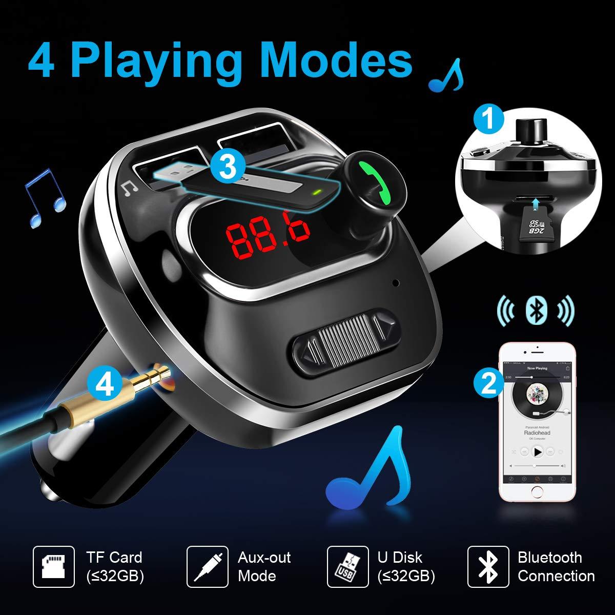 ARINO FM Trasmettitore Bluetooth da Auto Radio Wireless Adattatore Chiamate Vivavoce con Doppia Porta USB, Ingresso AUX, Display LCD, Funzione di Memoria, Scheda TF, per Iphone, Smartphone IOS / Android Colore Nero