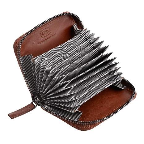 53f6a80640 Antica Toscana Porta carte di credito con Cerniera Zip Around a giro in Vera  Pelle e