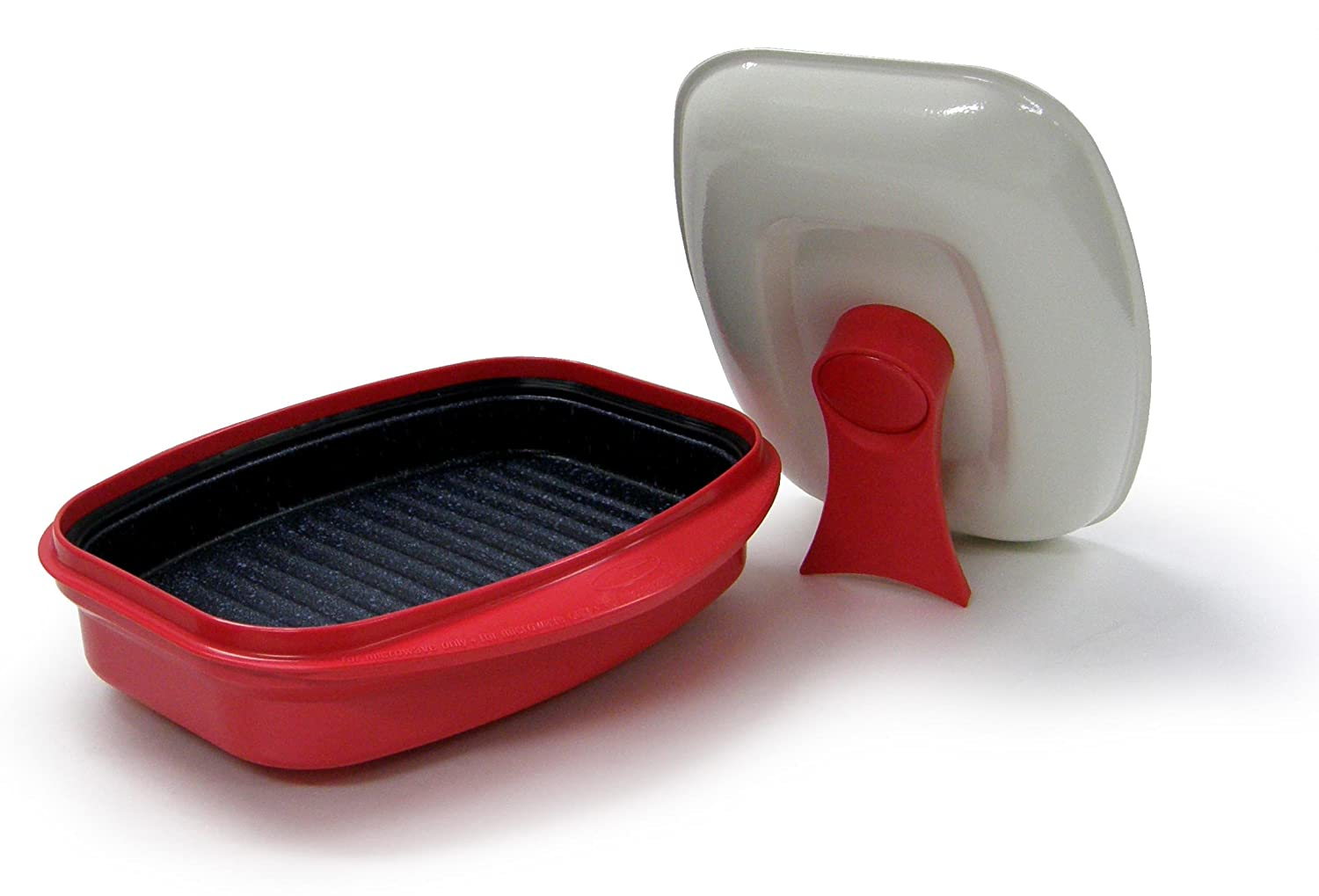 MICROHEARTH G03RS2 Grill Pan for Microwave Cooking, Red