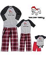 Footsteps Clothing Matching Family Christmas Bull Dog Baseball Shirt Pant Sets