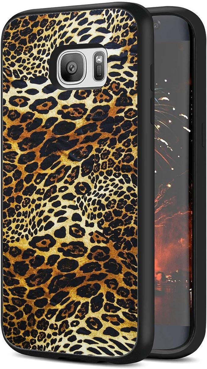 Samsung Galaxy S7 Edge Leopard Print Wallpaper Phone Case Black Back Side Soft Tpu Protective Cover Amazon Co Uk Electronics