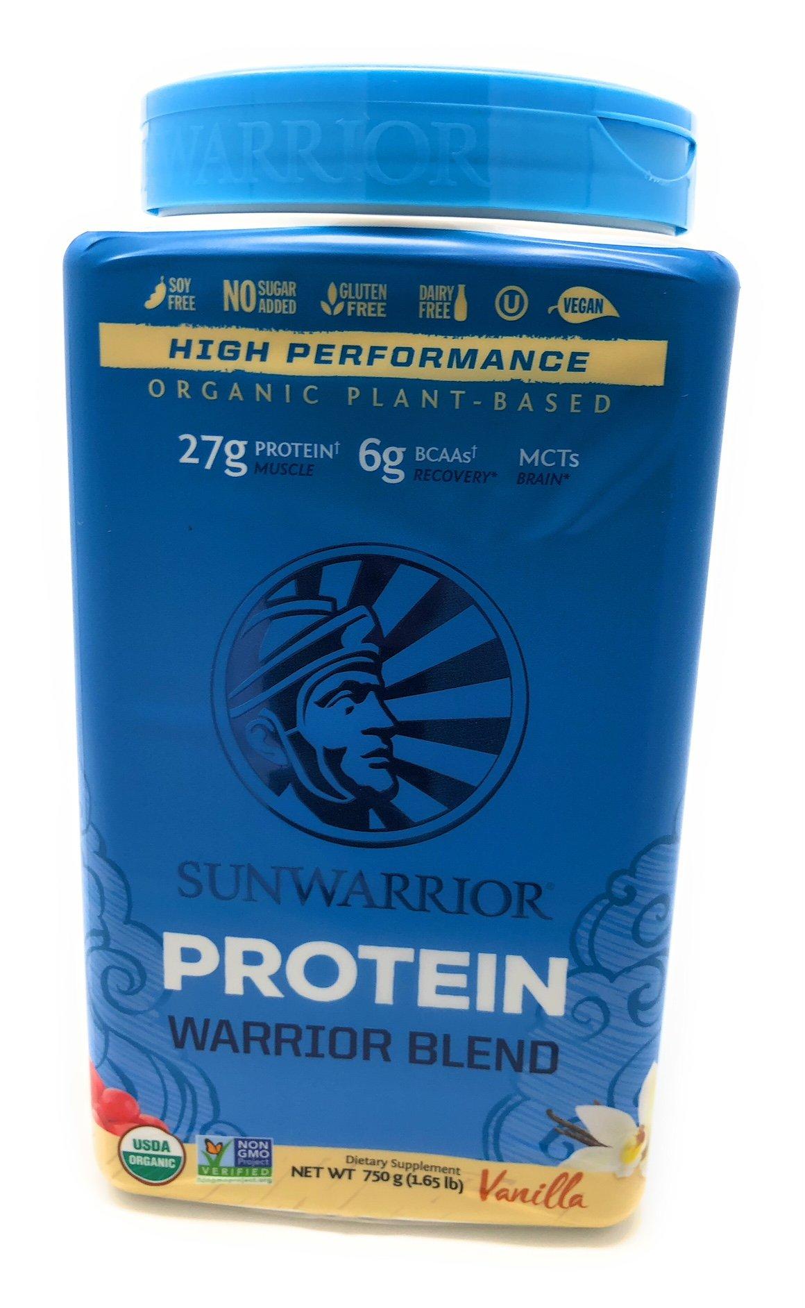 Sunwarrior - Warrior Blend, Plant Based, Raw Vegan Protein Powder with Peas & Hemp, Vanilla, 30 Servings