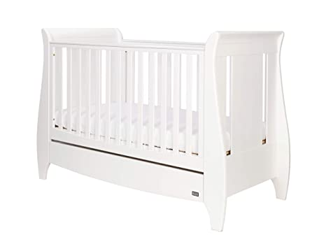 pretty nice 4e6f0 0b935 Tutti Bambini Lucas Space Saver Sleigh Cot Bed With Under Bed Drawer,  White, 140 X 70cm