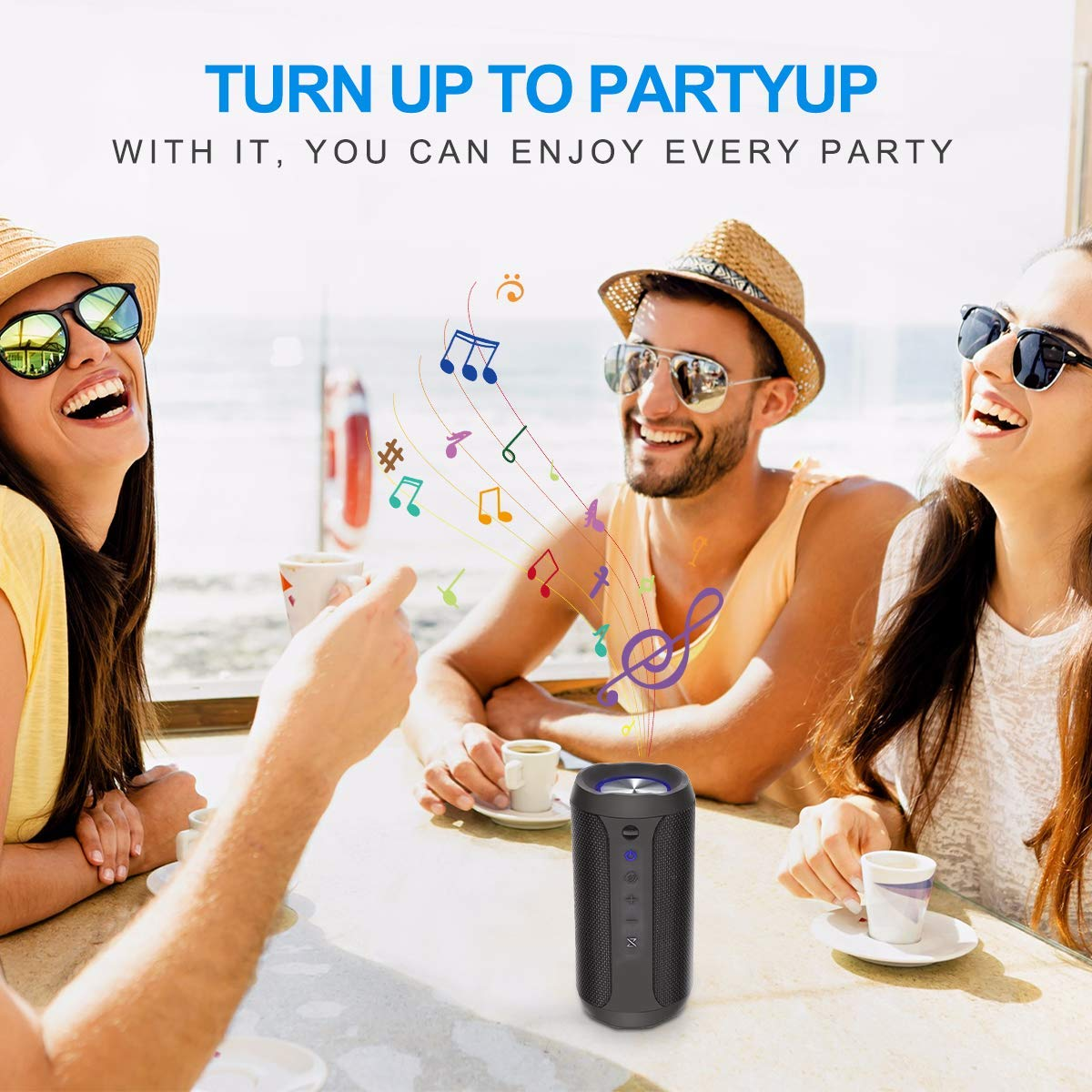 12 Ore di Riproduzione 4.2 Bluetooth Subwoofer Shockproof Speakers BACKTURE Altoparlante Bluetooth IPX7 Waterproof Senza Fili Cassa Bluetooth Portatile con LED Luce Chiamata Vivavoce TWS Stereo