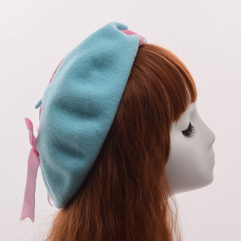Girls Cute Lolita Wool Beret Cap for Women Female Vintage Velvet Lace-up Painting Beanie Hat Headwear