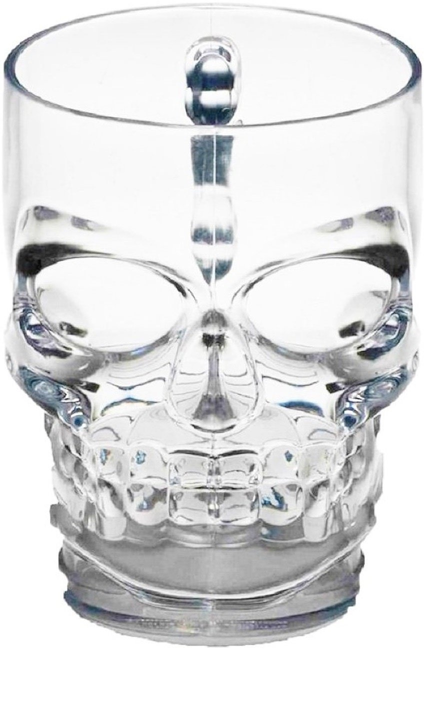 Circleware Skull Face Glass Beer Mug Drinking Glasses with Handle, Set of 2, Heavy Base Funny Entertainment Glassware for Water Juice and Bar Liquor Dining Decor Beverage Gifts, 18 oz, 2pc-Skull