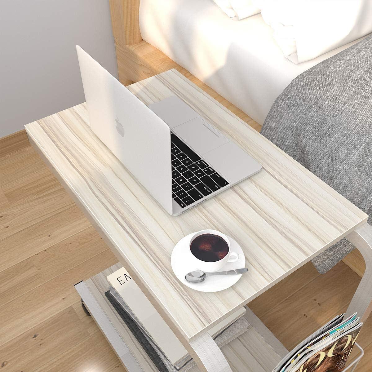soges Portatile Tavolo Laptop Tavolo per Notebook PC con Piattaforma Divano Tavolo Acero Bianco KH02-MP-M