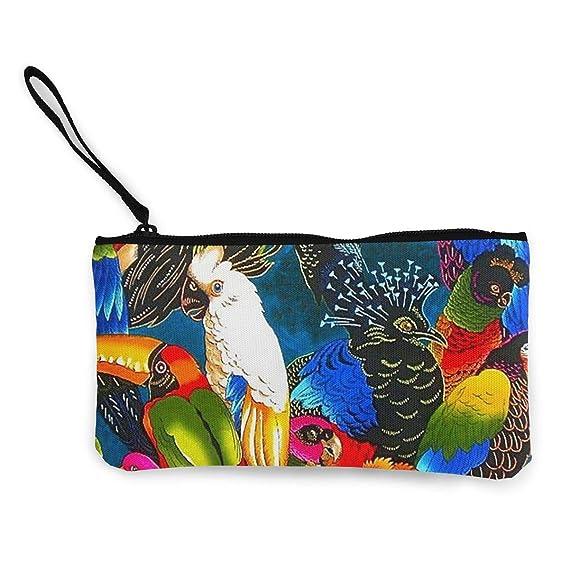 Amazon.com: Colorido diseño de pájaros de loro, monedero de ...