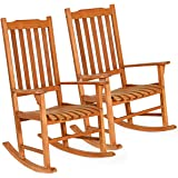 Giantex Set of 2 Porch Rocking Chair, Solid Wood Rocker for Outdoor Indoor Use. Natural Finish, Single Chairs for Patio…