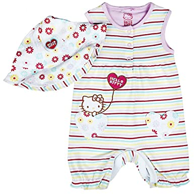 c4962775a Hello Kitty Girls Baby Stripe Romper & Floral Hat Set Tiny Sizes from  Newborn to 9