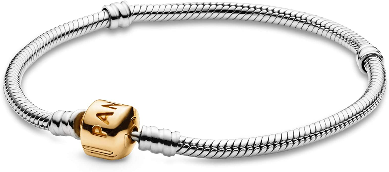 PANDORA Jewelry Moments Snake Chain Charm Sterling Silver and 14K Yellow  Gold Bracelet