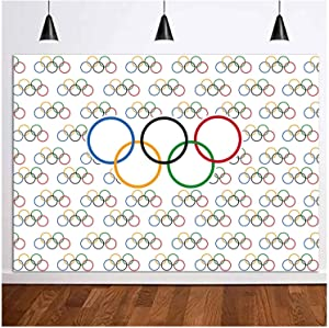 Olympic Sport Theme Photography Background Vinyl Olympic Rings International Banner for Sports Party Photo Backdrops 5x3ft Countries for Classroom Garden Grand Opening Sports Clubs Party Supplies