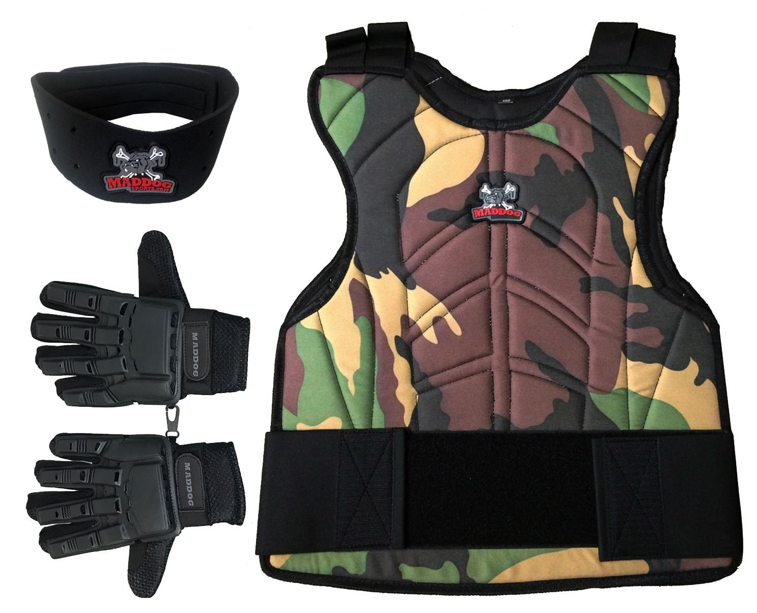 Maddog Sports Padded Chest Protector, Full Finger Tactical Glove, Neck Protector Combo Package - Camo - Small/Medium by MAddog